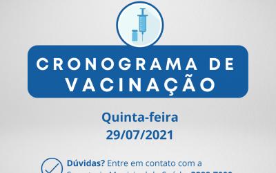 Cronograma de Vacinação Contra Covid-19 - 29/07/2021