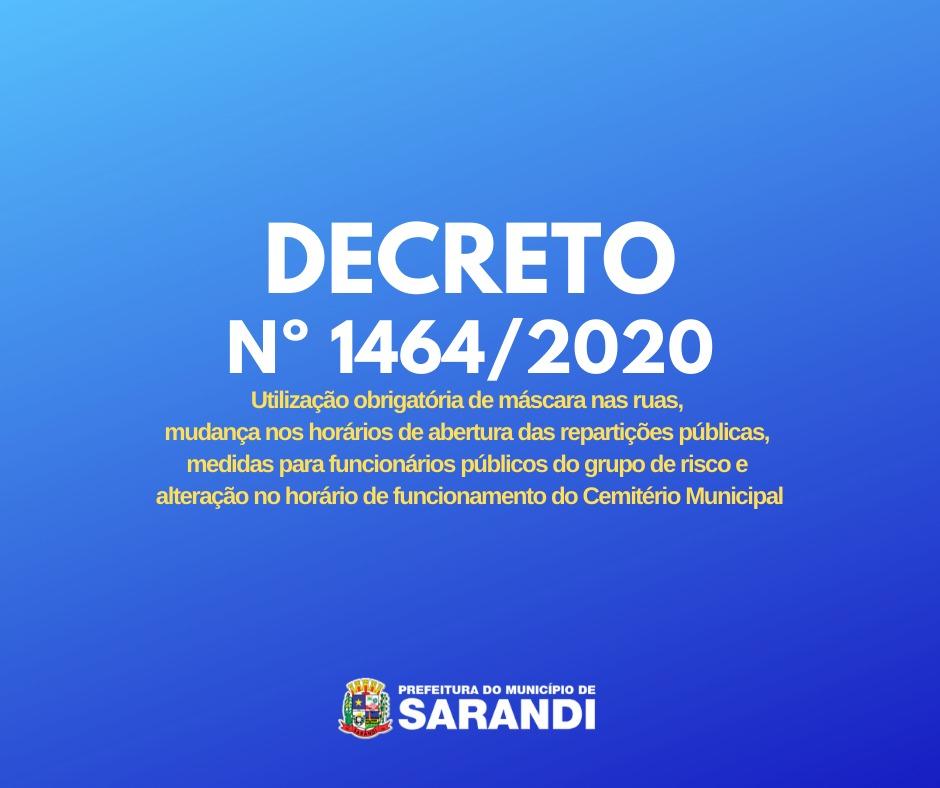Decreto Municipal determina uso obrigatório de máscaras em Sarandi entre outras medidas