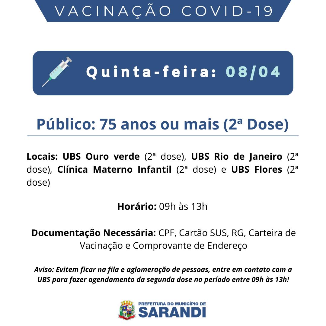 Cronograma De Vacinacao Contra Covid 19 Quinta Feira 08 04 2021
