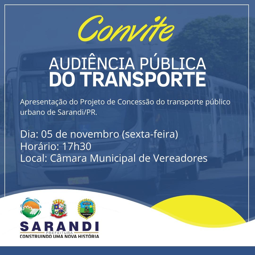 Convite de Audiência Pública do Transporte Público de Sarandi