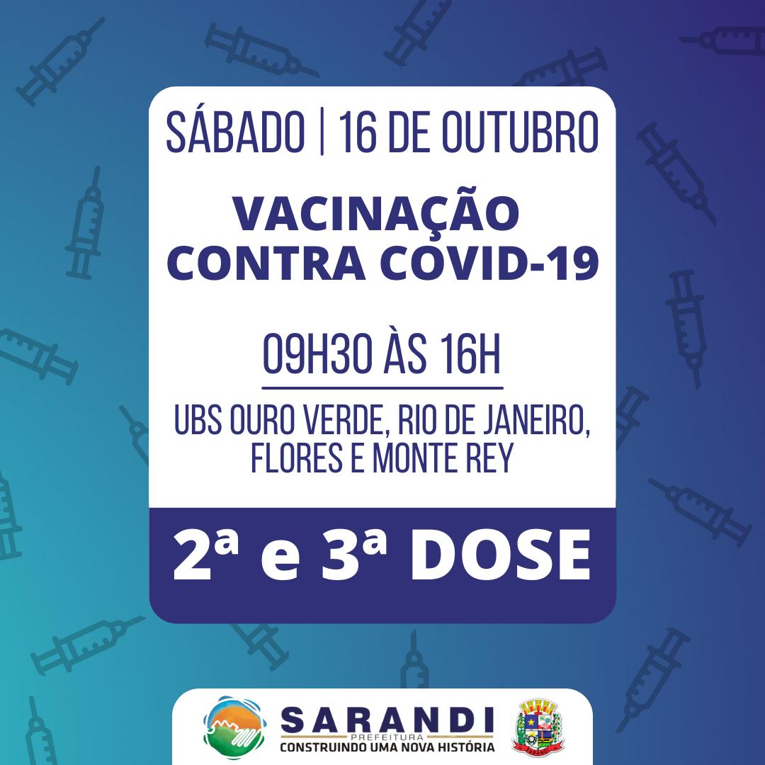 Cronograma de Vacinação contra Covid-19 - Sábado - 16/10/2021