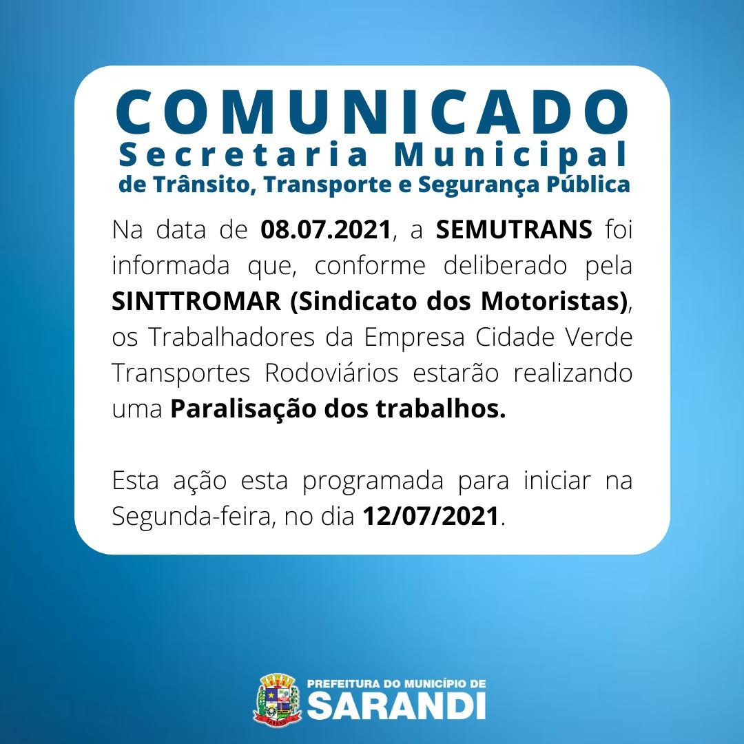 Comunicado da SEMUTRANS – Secretária Municipal de Trânsito, Transporte e Segurança Pública